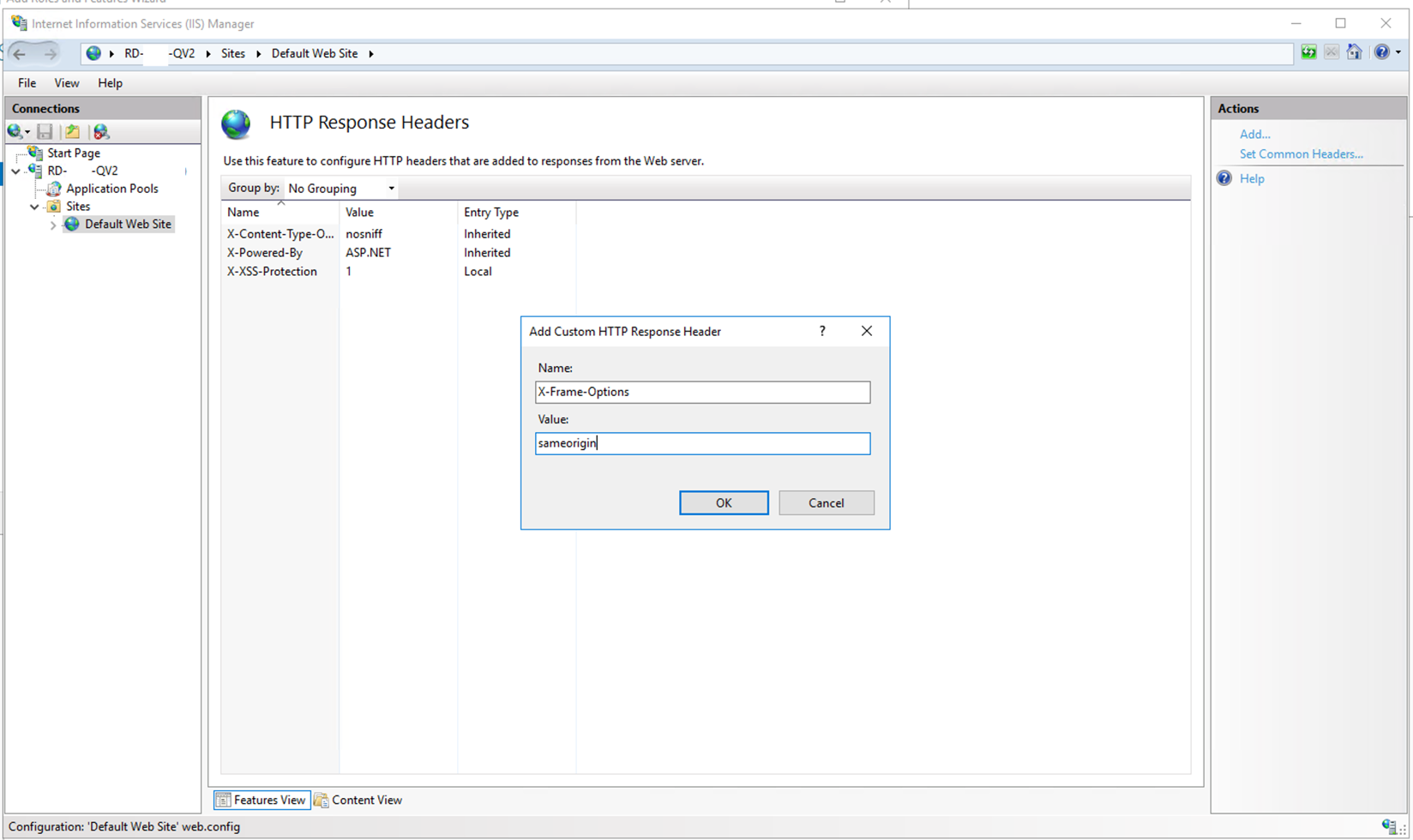 Setting Arbitrary HTTP Headers in IIS for QlikView