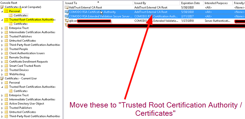 Qlik Sense: Couldn't find a valid ssl certificate with