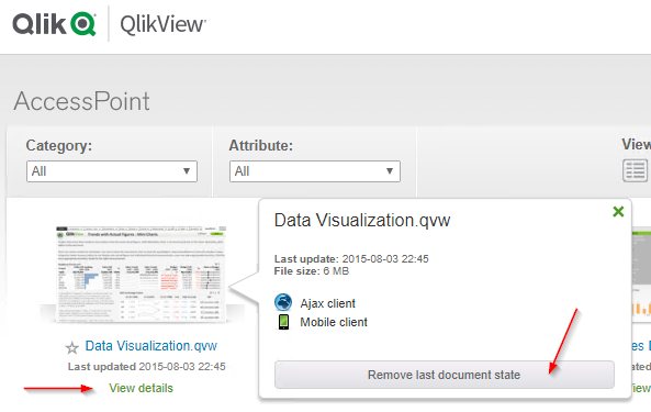 How to remove last document state of a QlikView document on
