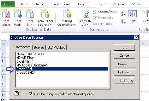 How to verify ODBC/ OLE DB connections using Excel