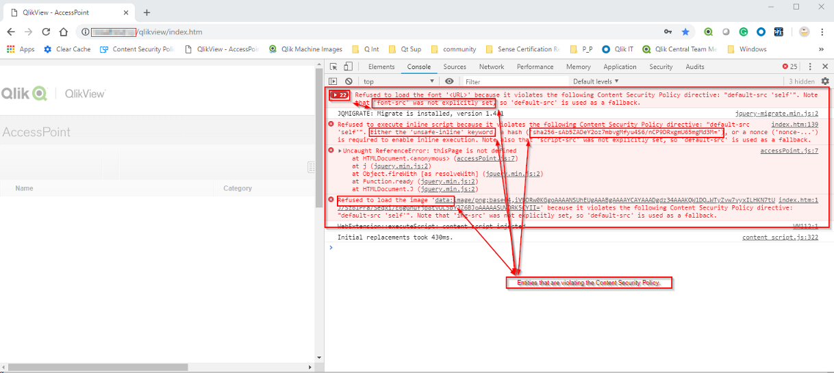 Effect of Content Security Policy Header in Chrome Dev Tools